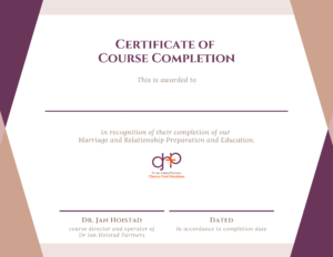 Dr Jan Hoistad - Completion of Course Certificate - Marriage